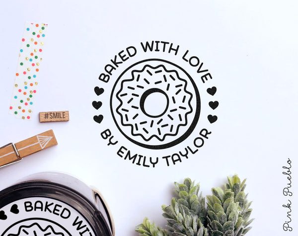 Self Inking Baked with Love Stamp, Personalized Donut Stamp, Doughnut Stamp for Baking and Cooking - PinkPueblo