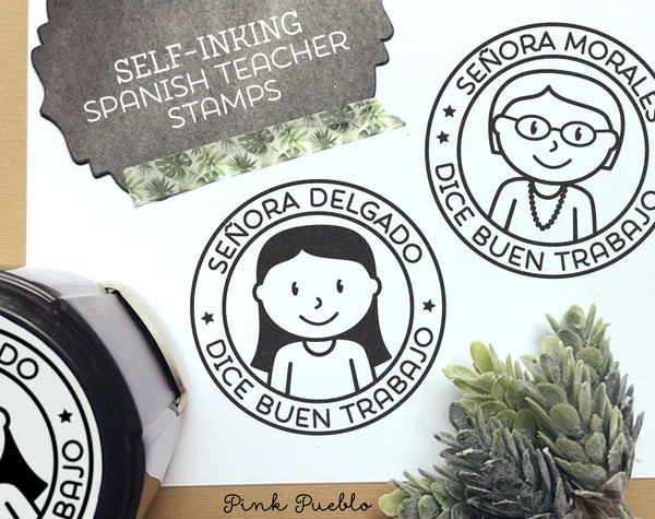 Self-Inking Spanish Teacher Stamp, Personalized Teacher Stamp, Spanish Teacher Gift - Choose Hairstyle and Accessories