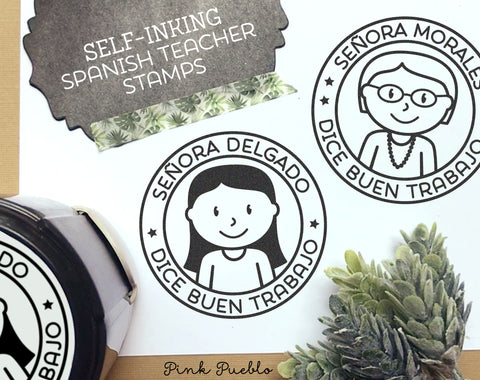 Self-Inking Spanish Teacher Stamp, Personalized Teacher Stamp, Spanish Teacher Gift - Choose Hairstyle and Accessories - PinkPueblo