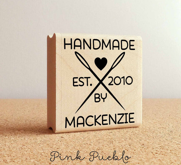 Personalized Sewing Rubber Stamp, Handmade By Sewing Needle Stamp - PinkPueblo