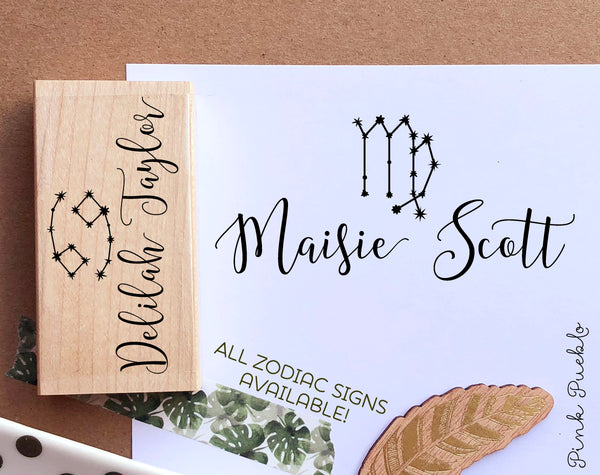 Personalized Zodiac Sign Nameplate Stamp, Zodiac Constellation Monogram Stamp - PinkPueblo