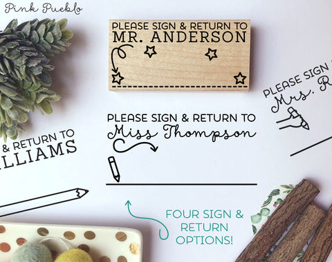 Personalized Sign and Return Stamp, Sign and Return Teacher Stamp, Teacher Gifts - PinkPueblo