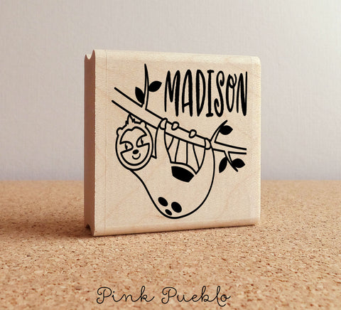 Personalized Sloth Stamp for Kids, Kids Rubber Stamp with Sloth, Sloth Gift - PinkPueblo
