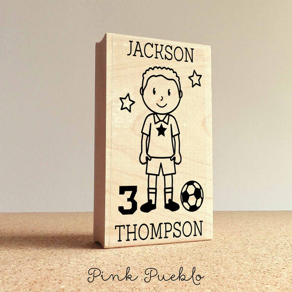 Personalized Soccer Rubber Stamp, Custom Boy Soccer Rubber Stamp - Choose Hairstyle and Accessories - PinkPueblo
