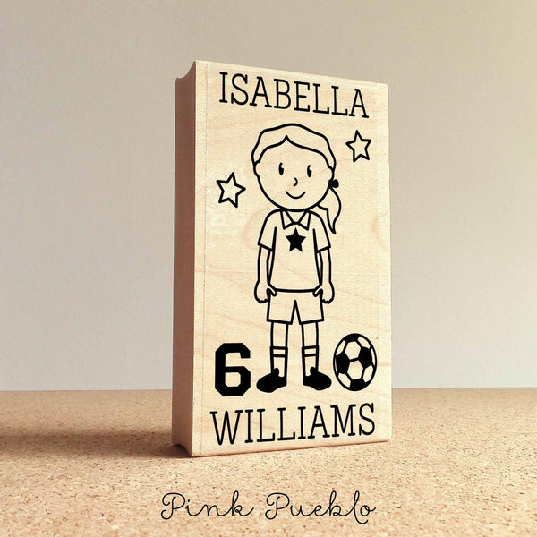 Girl's Personalized Soccer Rubber Stamp, Custom Soccer Rubber Stamp - Choose Hairstyle and Accessories - PinkPueblo