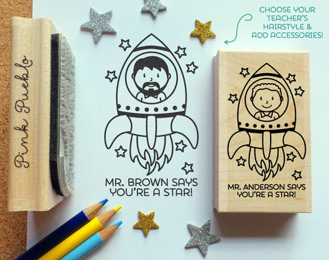 Personalized Teacher Stamp, Outer Space Themed Teacher Rubber Stamp, You Are a Star Stamp - Choose Hairstyle and Accessories - PinkPueblo