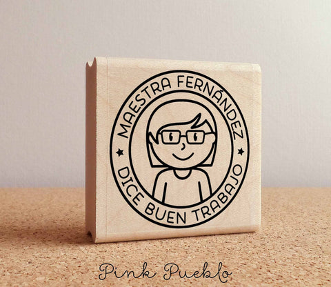 Spanish Teacher Rubber Stamp, Personalized Teacher Stamp, Spanish Teacher Gift - Choose Hairstyle and Accessories - PinkPueblo