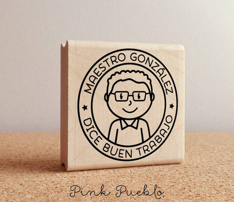 Spanish Teacher Rubber Stamp, Personalized Teacher Stamp, Male Spanish Teacher Gift - Choose Hairstyle and Accessories - PinkPueblo