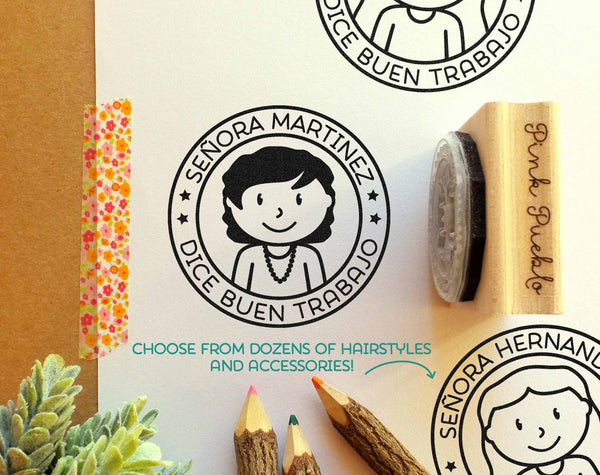 Spanish Teacher Stamp, Personalized Teacher Rubber Stamp, Spanish Teacher Gift - Choose Hairstyle and Accessories