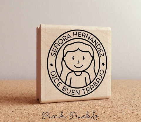 Spanish Teacher Stamp, Personalized Teacher Rubber Stamp, Spanish Teacher Gift - Choose Hairstyle and Accessories - PinkPueblo