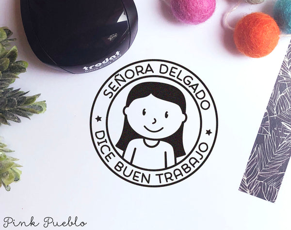Mini Self-Inking Spanish Teacher Stamp, Personalized Teacher Gift Stamp - Choose Hairstyle and Accessories