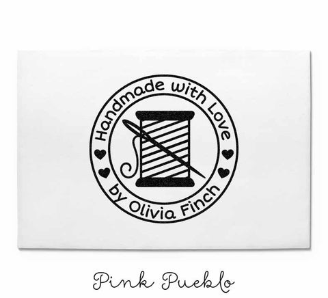 Personalized Sewing Rubber Stamp, Handmade with Love Custom Stamp