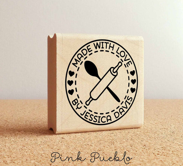 Personalized Made with Love Rubber Stamp, Label Stamp For Baking