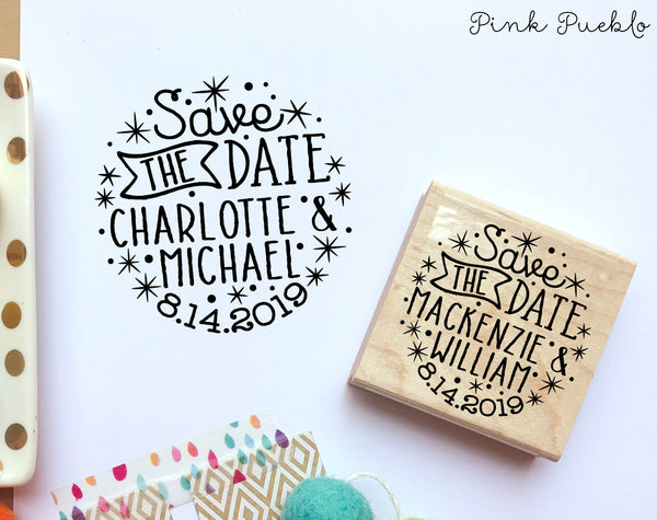 Save the Date Stamp, Rustic or Vintage Wedding Stamp with Stars - PinkPueblo