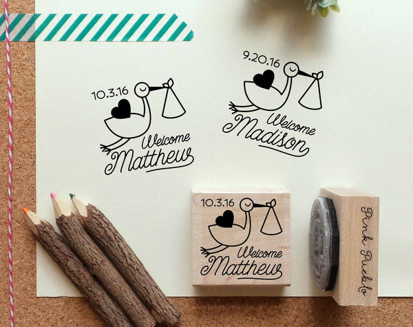 Personalized Birth Announcement Rubber Stamp, Birth Announcement Stamp with Stork - PinkPueblo