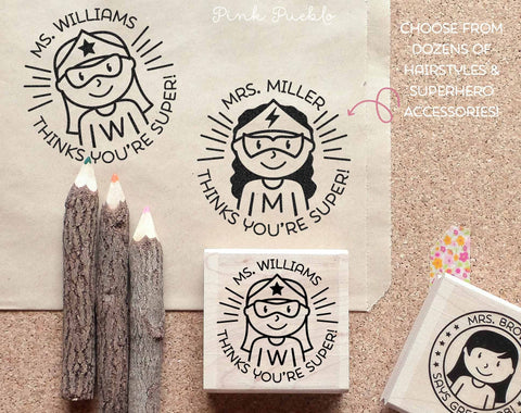 Superhero Teacher Rubber Stamp, Female Teacher Stamp, Personalized Teacher Gift - Choose Hairstyle and Accessories