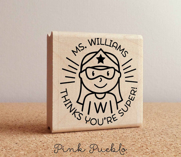 Superhero Teacher Rubber Stamp, Female Teacher Stamp, Personalized Teacher Gift - Choose Hairstyle and Accessories - PinkPueblo