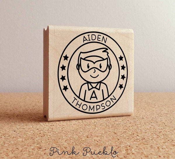 Personalized Boy Superhero Rubber Stamp - Choose Name, Hairstyle