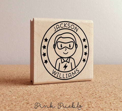 Personalized Superhero Boy Rubber Stamp - Choose Name, Hairstyle