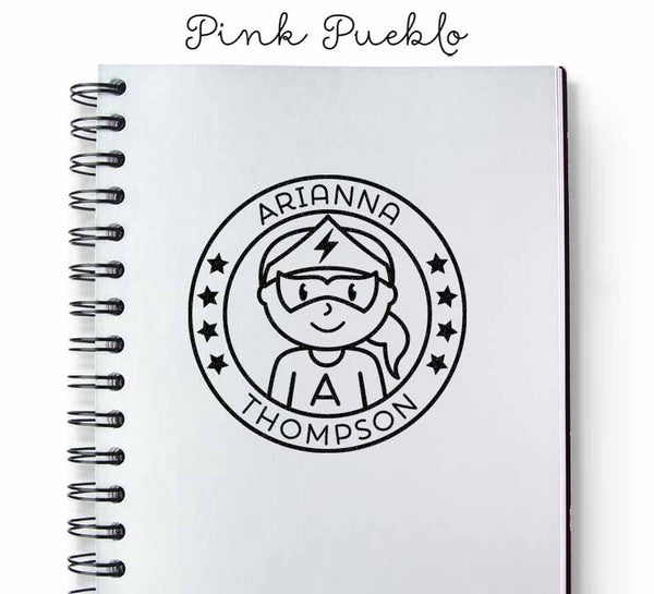 Personalized Girl Superhero Rubber Stamp - PinkPueblo