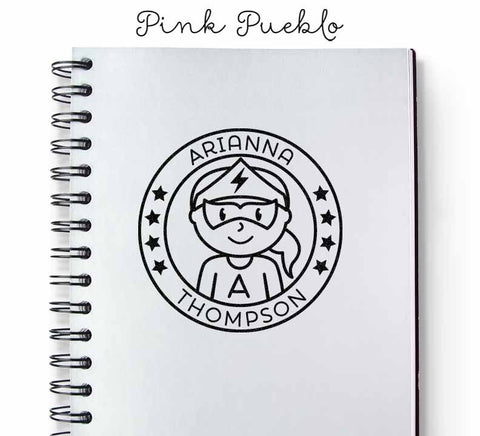 Personalized Girl Superhero Rubber Stamp