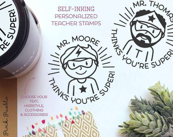 Self-Inking Superhero Teacher Stamps, Personalized Superhero Classroom Stamp, Teacher Gifts - Choose Hairstyle and Accessories - PinkPueblo