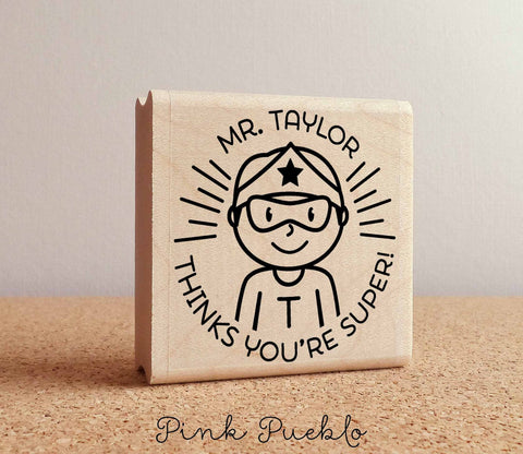 Superhero Teacher Rubber Stamp, Male Teacher Stamp, Personalized Teacher Gift - Choose Hairstyle and Accessories - PinkPueblo