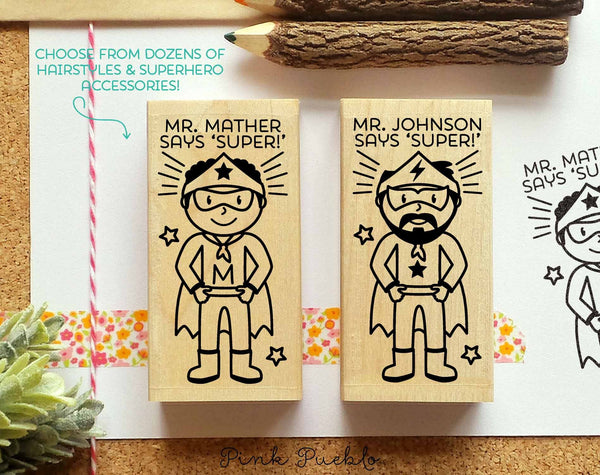 Superhero Teacher Rubber Stamp, Teacher Gift, Personalized Teacher Stamp - Choose Hairstyle and Accessories - PinkPueblo