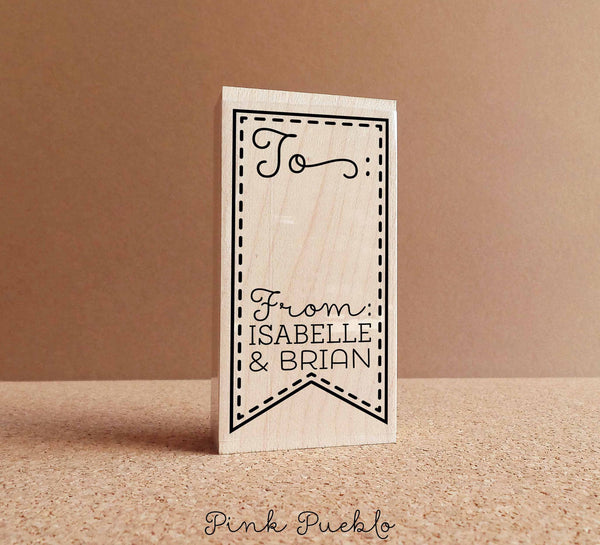 Personalized To From Gift Tag Stamp, Custom Product Label Stamp - PinkPueblo