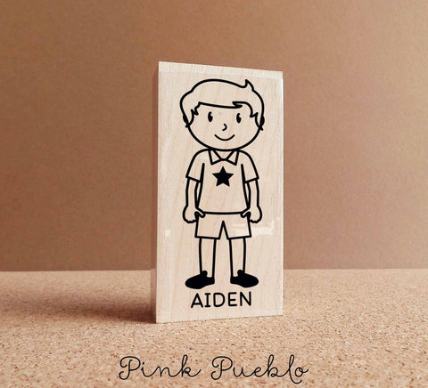 Personalized Kid's Rubber Stamp - Boy - Choose Hair, Clothing and Name - PinkPueblo