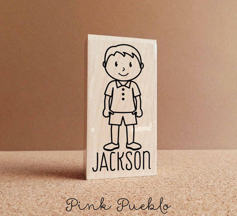 Custom Personalized Little Boy Rubber Stamp - Choose Name, Clothing and Accessories