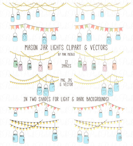 Mason Jar Lights Clipart & Vectors - PinkPueblo