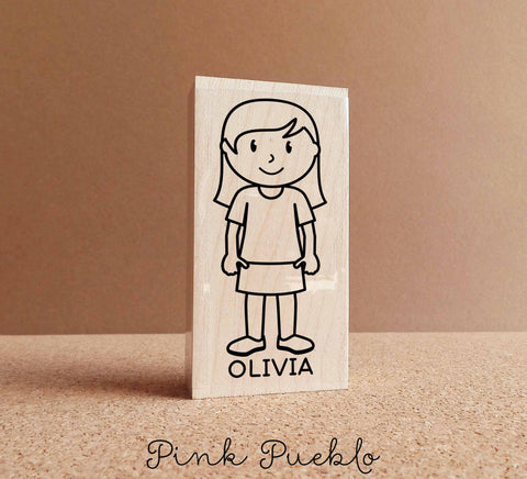 Personalized Girl Rubber Stamp - Choose Hair, Clothing and Name - PinkPueblo