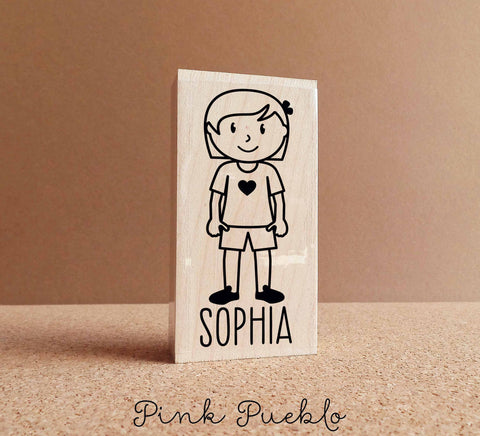 Personalized Children's Rubber Stamp - Girl - Choose Hair, Clothing and Name - PinkPueblo