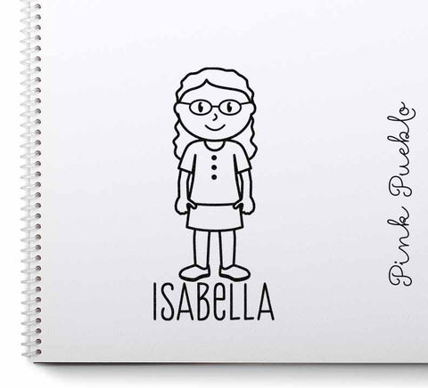 Custom Personalized Girl Stamp - Choose Hair, Clothing and Name