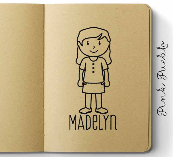 Personalized Children's Rubber Stamp - Girl - Choose Hair, Clothing and Name