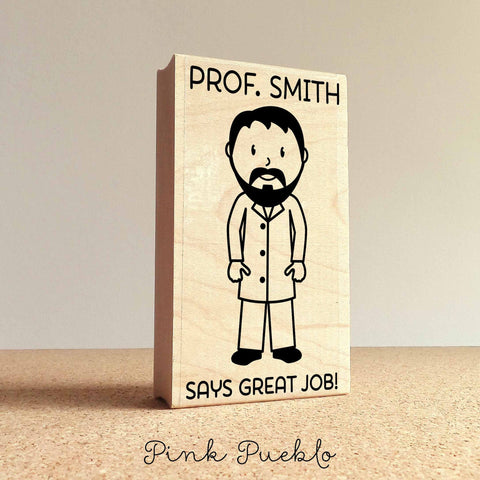 Personalized Male Teacher, Professor or Doctor Rubber Stamp- Choose Text, Hairstyle and Clothing - PinkPueblo