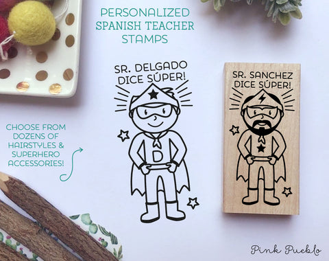 Spanish Teacher Stamps, Superhero Spanish Teacher Gift - Choose Hairstyle and Accessories - PinkPueblo
