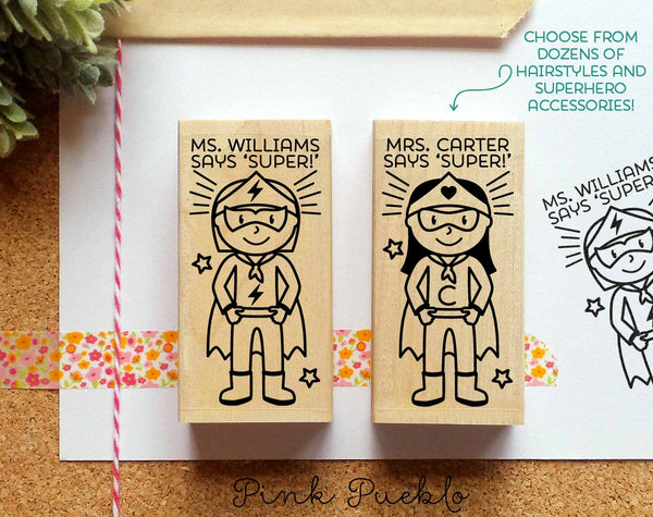 Superhero Teacher Rubber Stamp, Custom Teacher Stamp, Personalized Teacher Gift - Choose Hairstyle and Accessories - PinkPueblo