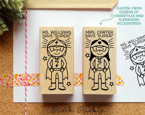 Superhero Teacher Rubber Stamp, Custom Teacher Stamp, Personalized Teacher Gift - Choose Hairstyle and Accessories