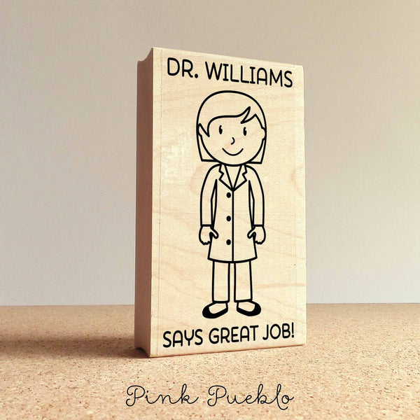 Personalized Female Teacher, Professor or Doctor Rubber Stamp- Choose Text, Hairstyle and Clothing - PinkPueblo