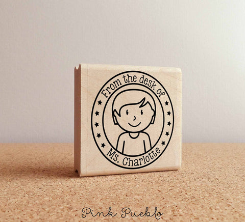 Custom Female Teacher Rubber Stamp - PinkPueblo