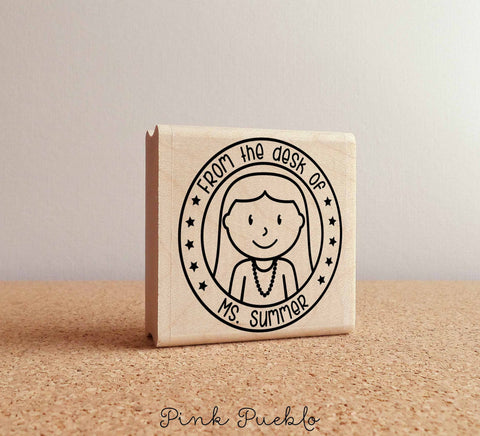 Personalized Female Teacher Rubber Stamp - PinkPueblo