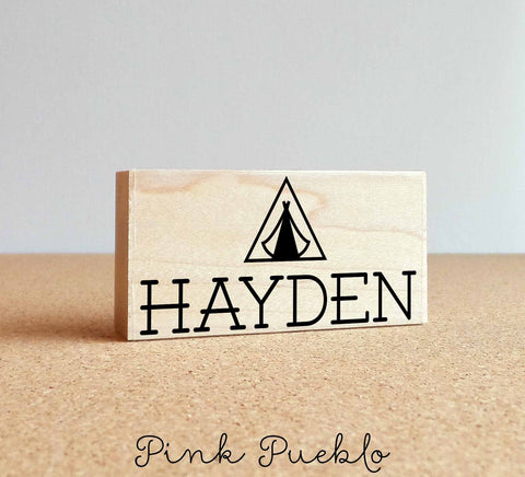 Personalized Custom Name Stamp with Tent - PinkPueblo