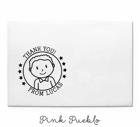 Personalized Thank You Rubber Stamp for Boys - PinkPueblo