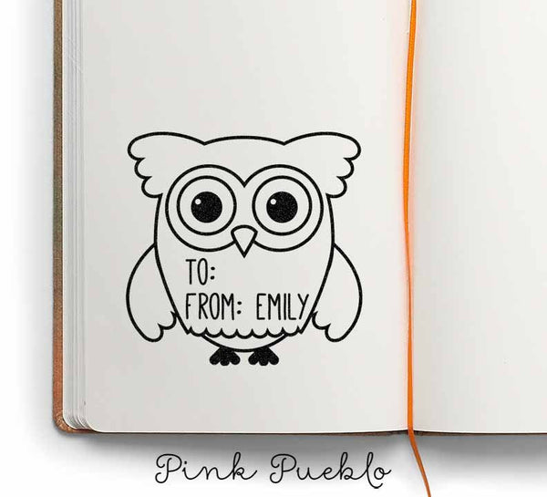 Large Personalized Owl Label Custom Rubber Stamp, Custom To From Owl