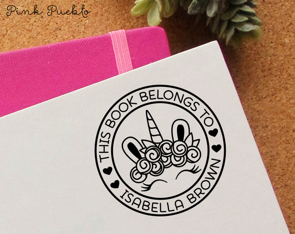 This Book Belongs to Stamp, Unicorn Stamp for Books, Bookplate Stamp for Kids