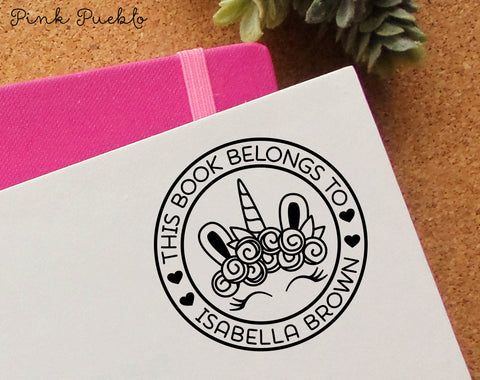 This Book Belongs to Stamp, Unicorn Stamp for Books, Bookplate Stamp for Kids - PinkPueblo