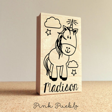 Personalized Unicorn Stamp, Great for Unicorn Birthday Parties or Unicorn Gifts for Girls - PinkPueblo