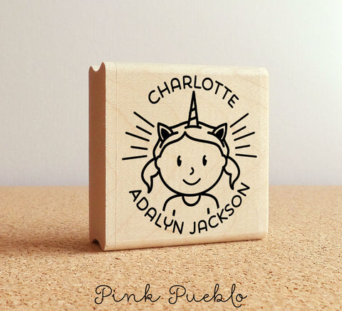Personalized Unicorn Stamp for Girls Unicorn Birthday Party Invitations or Unicorn Stationery - PinkPueblo